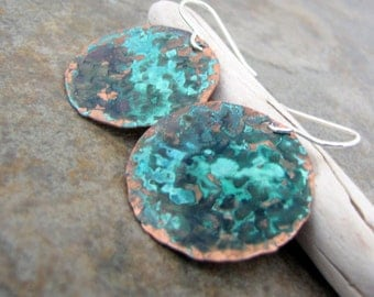 Rustic Verdigris Copper Earrings Patina Copper Earrings Hammered Copper Earrings Turquoise Teal Earrings Boho Jewelry Gift for Her Mom