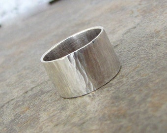 Mens Wedding Band Silver Hammered Wedding Ring Wide Rustic Wedding Bands Unique Wedding Ring Silver Bark Ring First Finger Ring Gift for Him