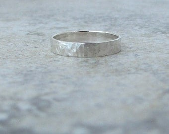Silver Wedding Ring Hammered Distressed Wedding Band Rustic Wedding Rings Unique Wedding Bands Simple Mens Wedding Band Gift for Him or Her