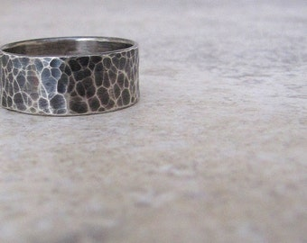 Mens Wedding Ring Hammered Mens Silver Ring Silver Wide Rustic Wedding Band
