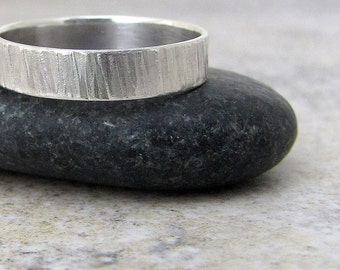 Tree Bark Ring Mens Hammered Silver Wedding Ring Rustic Mens Wedding Band Unique Wedding Rings Bark Textured Wedding Band Gift for Him