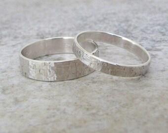 Silver Wedding Bands Hammered Wedding Ring Set Distressed Squares Wedding Bands Rustic Wedding Bands Unique Wedding Rings by SilverSmack