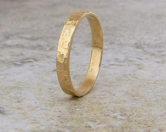 mens gold wedding band rustic wedding ring unique wedding bands 14k engraved personalized wedding band distressed - Mens Gold Wedding Ring