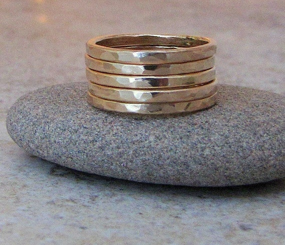 Gold Stacking Rings Hammered Gold Rings Gold Wedding Bands Gold Wedding Rings 14K Gold Ring Stack Five Golden Rings Gift for her SilverSmack