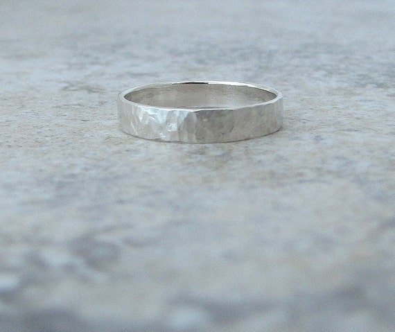 Silver Wedding Ring Hammered Distressed Wedding Band Rustic