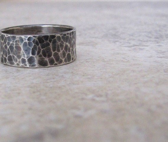 Mens Wedding Ring Hammered Silver Ring Wide Rustic Wedding Bands Unique Wedding Band Mens Jewelry Gift for Him Black Distressed Wedding Band