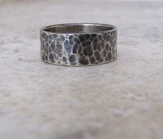 Mens Wedding Band Silver Wedding Ring Rustic By SilverSmack