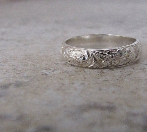 Silver Floral Ring Silver Wedding Ring Wedding Band By
