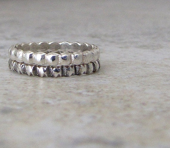 Silver Stacking Rings Silver Beaded Dot Black Gray Ombre Rings