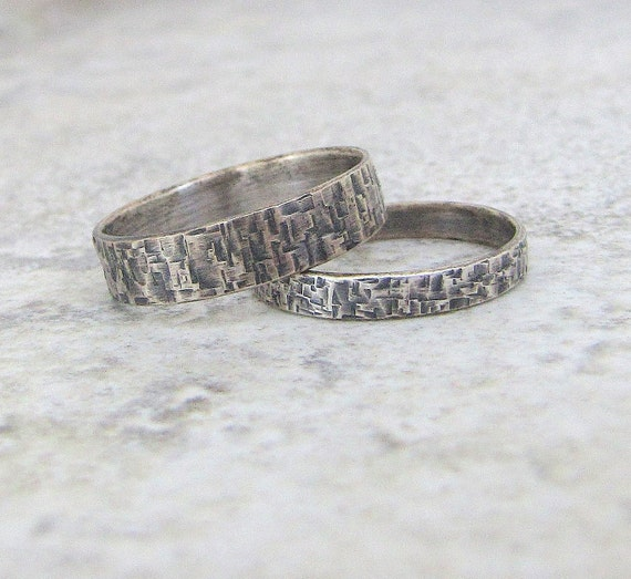 silver wedding bands hammered oxidized distress squares silver. Black Bedroom Furniture Sets. Home Design Ideas