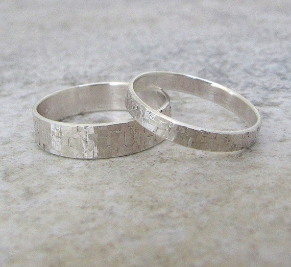 Silver Wedding Bands Hammered Wedding Ring Set Distressed Squares Wedding Bands Rustic Wedding Bands Unique Wedding Rings by SilverSmack