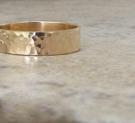 Mens Wedding Band Hammered Gold Wedding Ring 14K Rustic Wedding Bands Unique Wedding Rings Engraved Customized Personalized Wedding Band