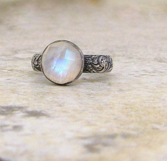 Moonstone Silver Ring Rainbow Moonstone Ring Engagement Ring