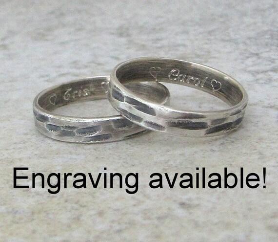 Bark Wedding Band Set Silver Hammered Rings Rustic Wedding Ring Set Unique Wedding Bands Engraved Wedding Rings Personalized Wedding Bands