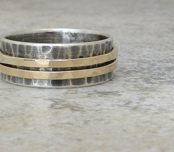 Mens Wedding Band Gold Spinner Ring Unique Wedding Bands Rustic Wedding Rings Meditation Rings Fidget Rings Mixed Metal Gift for Him