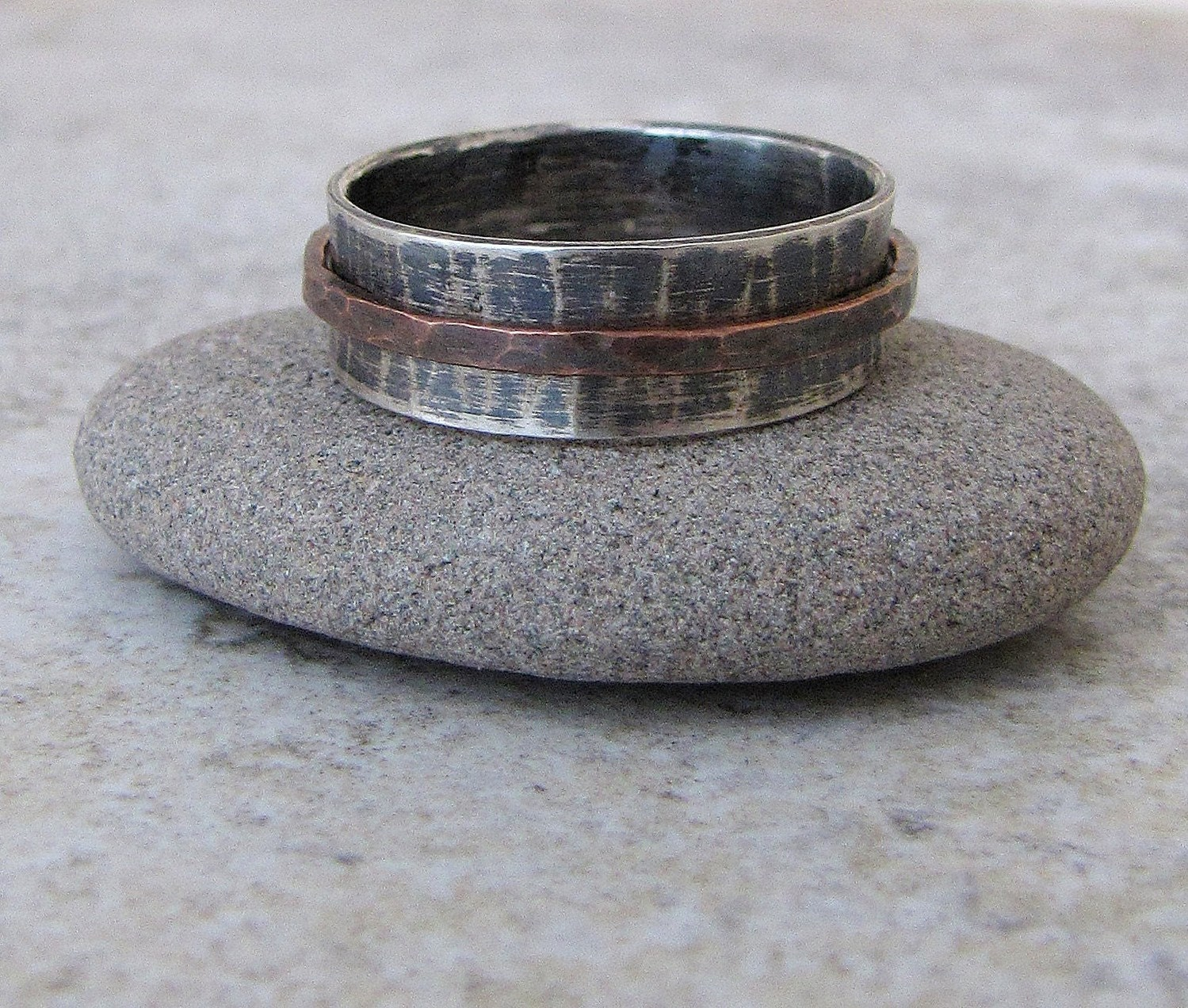 mens spinner ring tungsten hammered wedding band Mens Wedding Band Silver Copper Spinner Ring Hammered Wedding Ring Rustic Engraved RUSH