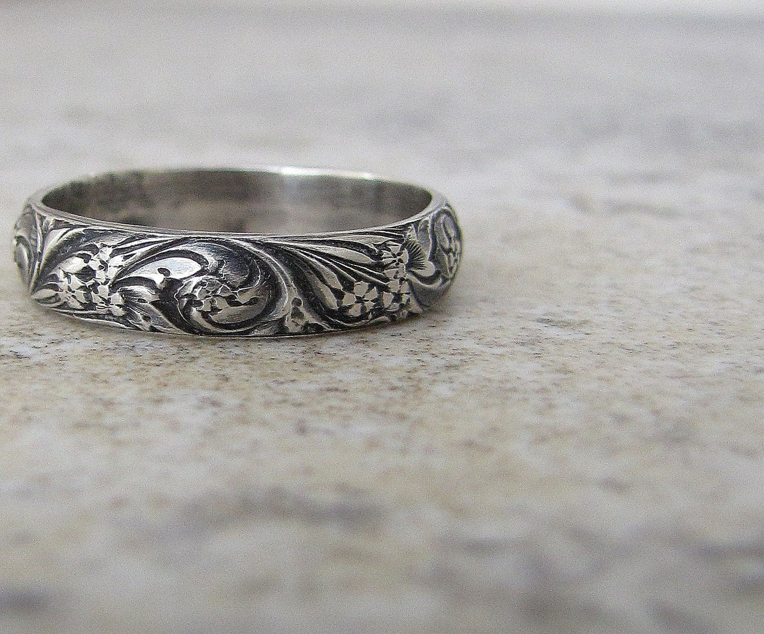 antique wedding band floral pattern ring wedding rings and bands zoom