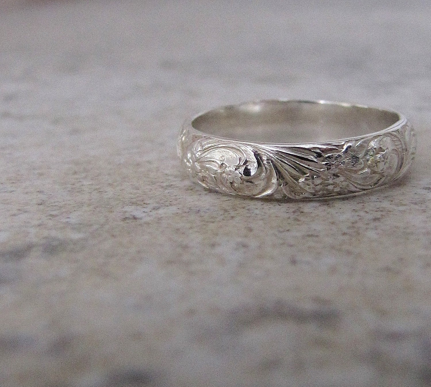 Silver Floral Ring Silver Wedding Ring Wedding Band Engraved