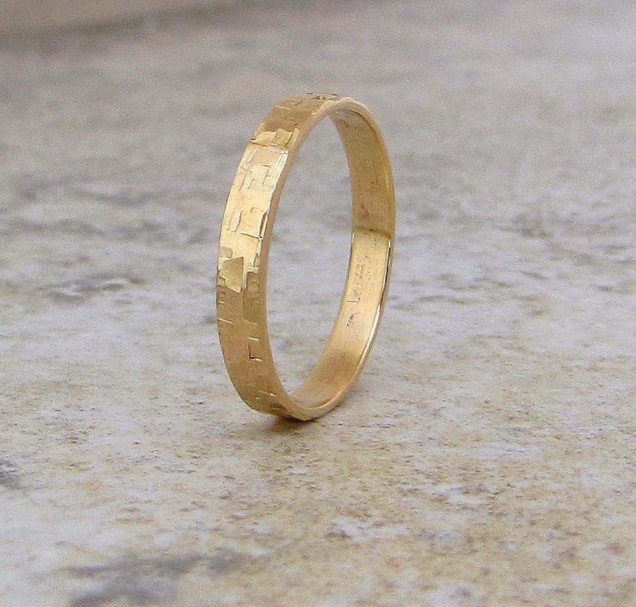 Mens Wedding Band Hammered Gold Wedding Ring 14K Distresssed