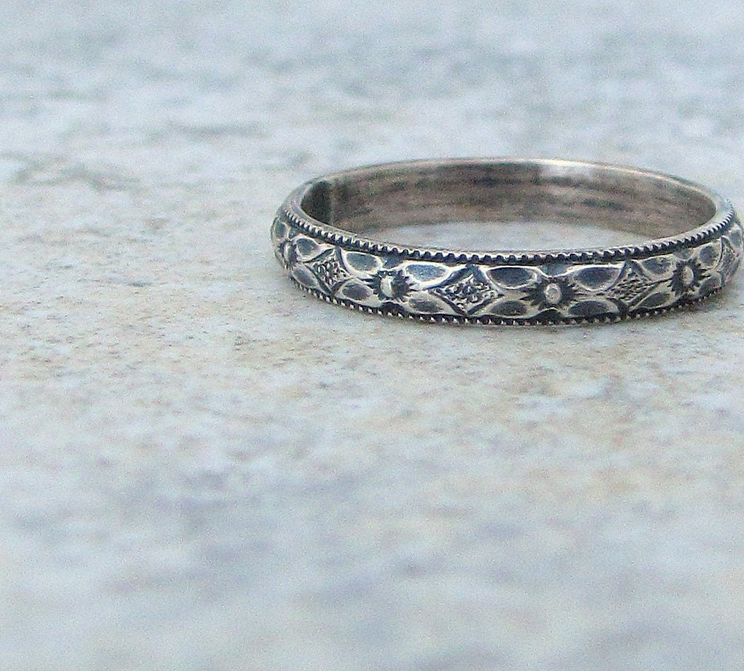 Floral Silver Ring Women s Wedding Band Wedding by SilverSmack