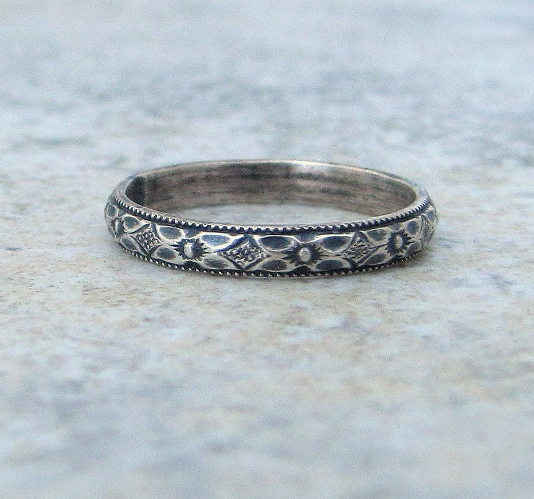 Thin Wedding Ring Silver Floral Wedding Band Antique Silver