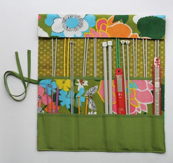 Knitting Needle Roll, Fabric Knitting Needle Organizer, Needle Holder, Vintage Floral by Knotted Nest on Etsy