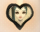 La Doll - christmas ornament. soft wall art. black felt heart. curious oddity gothic decoration by KarolinFelix