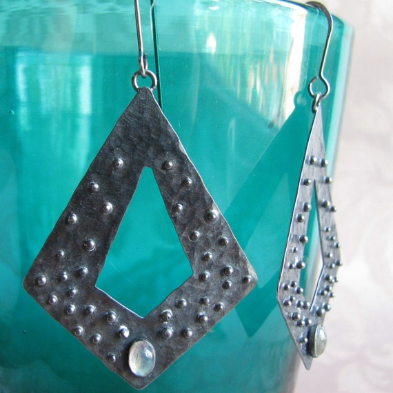 hammered sterling silver earrings with labradorite stones