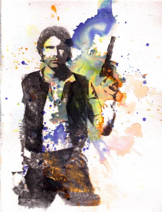 Han Solo Star Wars Art Watercolor Painting - Original Watercolor Painting on SALE now