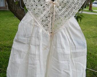 1st Design Beige Gauze Blouse w/Crochet Collar