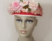 RESERVED for Suzanne - Vintage Red & White Straw Hat with Roses