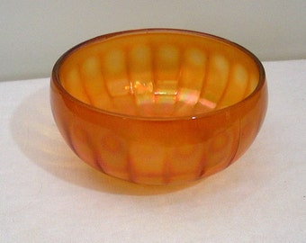 Vintage Carnival Glass Paneled Bowl - Peacock Feather