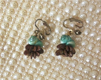 Vintage Seed and Shell Clip Earrings