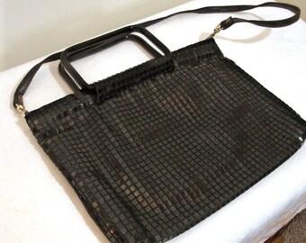 Vintage Mod Black Plastic Tile Purse - 1960s