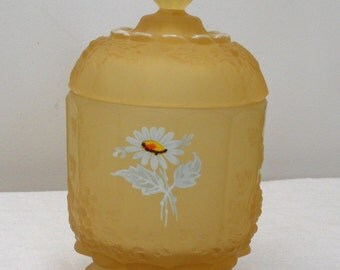 Westmoreland Yellow Mist Daisy Candy Dish - Vintage