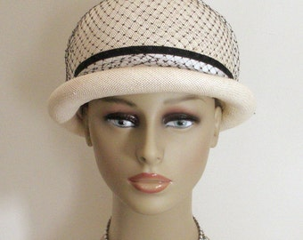 Vintage Cream Straw Bubble Hat with Black Netting