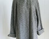 1950's Vintage Rothmoor Grey and Black Flecked Swing Coat  M/L