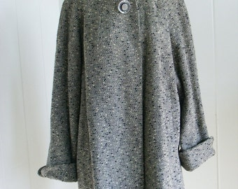 1950's Vintage Rothmoor Grey and Black Flecked Swing Coat  M/L