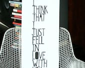 POSTER - And I think that I just fell in love with you LINOCUT black Tom Waits letterpress print