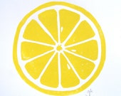 PRINT - Lemon  YELLOW LINOCUT citrus 8x10 letterpress print for the kitchen