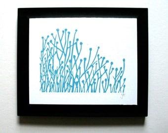PRINT - Flowers LIGHT BLUE block print 8x10 letterpress