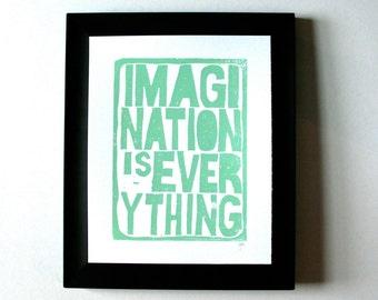 LINOCUT PRINT - Einstein quote - Imagination is everything LETTERPRESS sea foam green typography poster 8x10