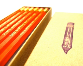 6 PENCILS - there is nothing that cannot happen MARK TWAIN quote - orange pencil set  w/ hand-stamped kraft pencil box