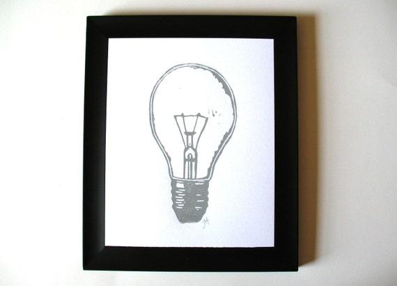 LINOCUT PRINT - lightbulb LETTERPRESS grey 8x10 poster