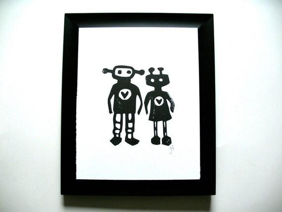 LINOCUT PRINT - Robots in love BLACK letterpress valentine poster 8x10