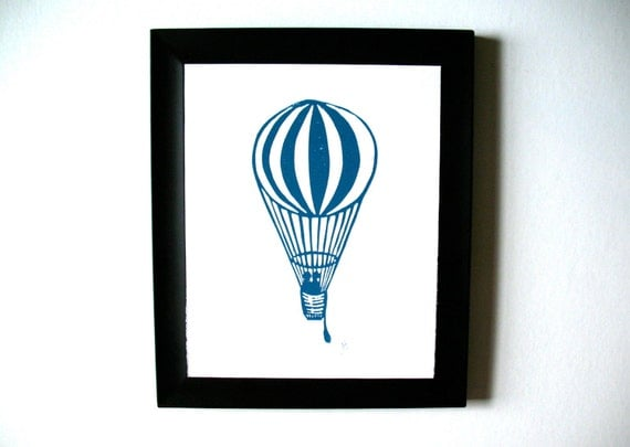 LINOCUT PRINT - Hot air balloon - blue-grey LETTERPRESS 8x10