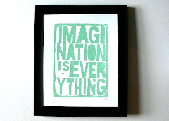 LINOCUT PRINT - Einstein quote - Imagination is everything LETTERPRESS sea foam green typography poster 8x10
