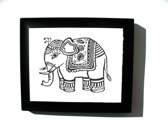 LINOCUT PRINT - ganesha elephant BLACK poster 8x10