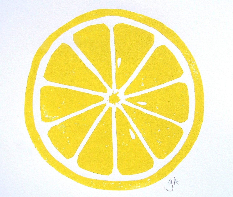 Print Lemon Yellow Linocut Citrus 8x10 Letterpress Print
