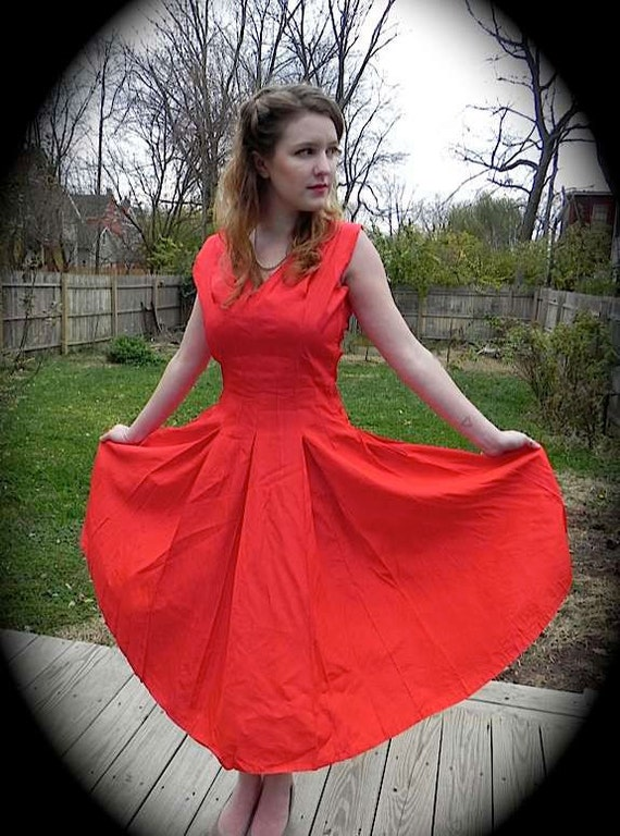 STUNNING Vintage 1950s Red Tafetta Party Dress with Unique Off Shoulder Design S M -on sale-